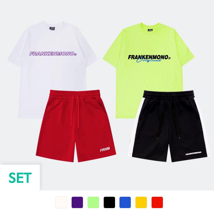[SET] 반팔 티셔츠 + 져지 5부 팬츠