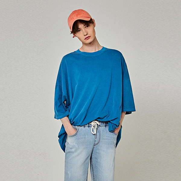 [7/12] PIGMENT OVER HALF T-SHIRTS_BLUE