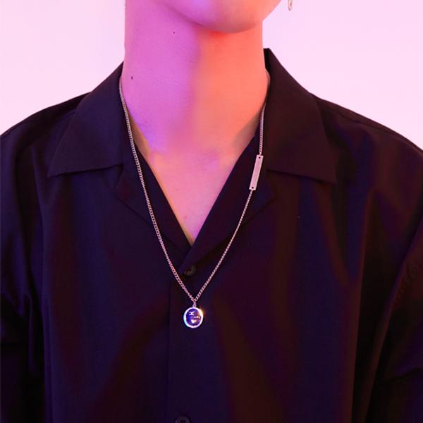 Black logo necklace