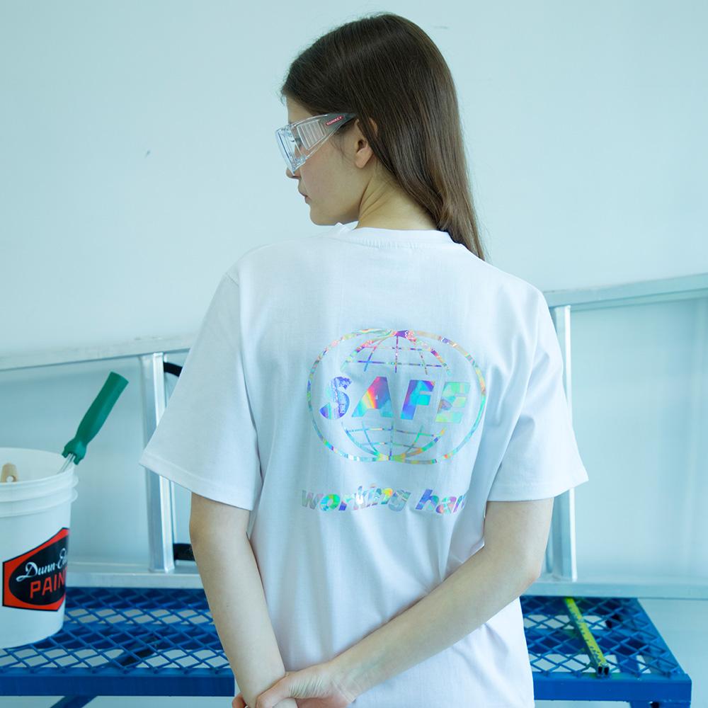 유니섹스 홀로그램 글로벌 티셔츠 [화이트]