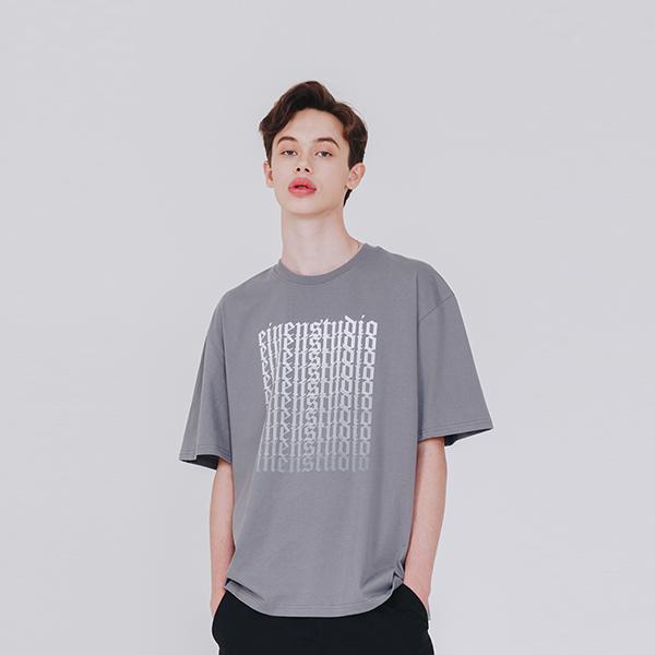 올드 로고 그라데이션 티셔츠 그레이