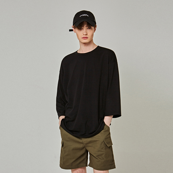 SILKY OVER 3/4 T-SHIRTS_BLACK