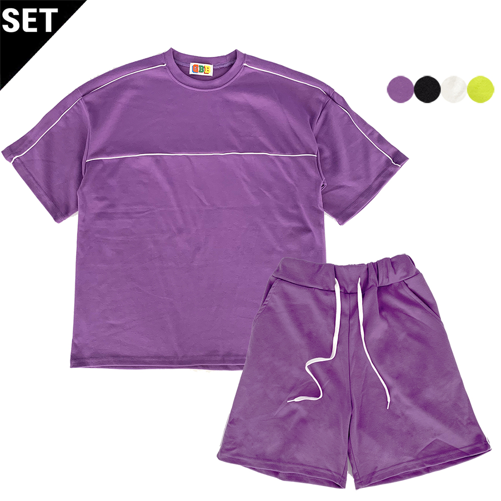 [1+1] PIPING EDGE SWEAT SHIRT+PIPING EDGE TRACK SHORTS(4color)