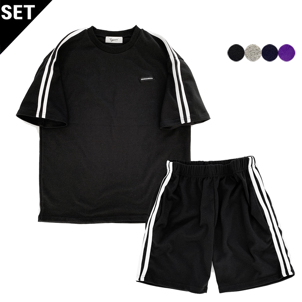 [1+1] SIMPLE TWO STRIPES T-SHIRT+SIMPLE TWO STRIPES TRACK SHORTS(4color)(unisex)