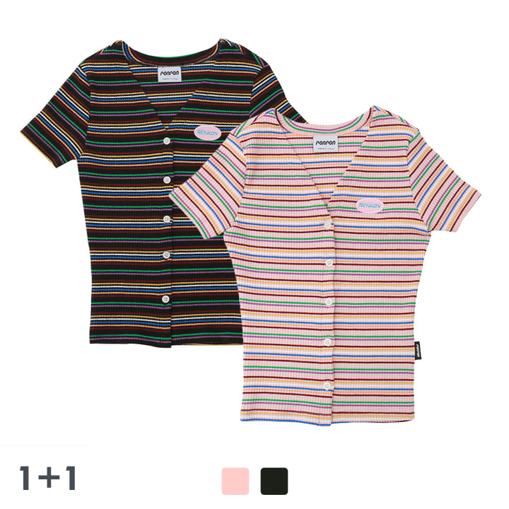 [1+1]  Color stripe half T-shirts