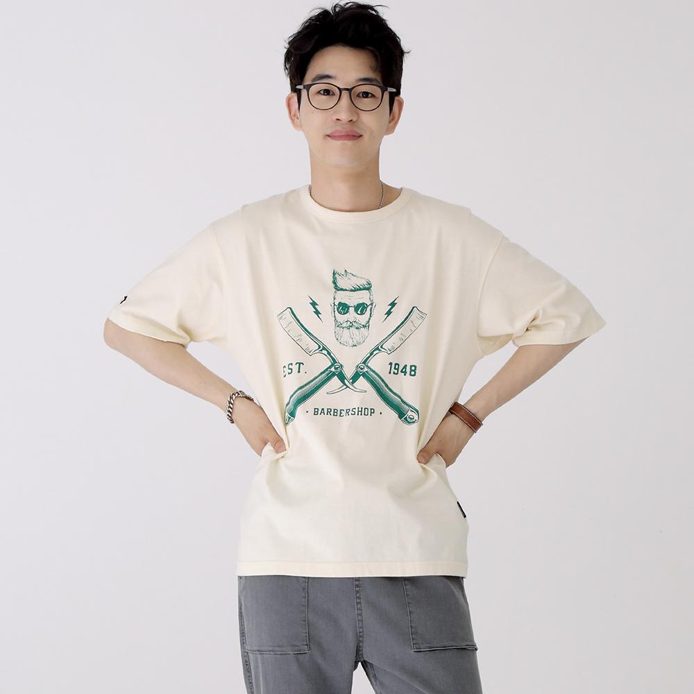 스웩버 3514 레이저 오버핏 티셔츠 크림