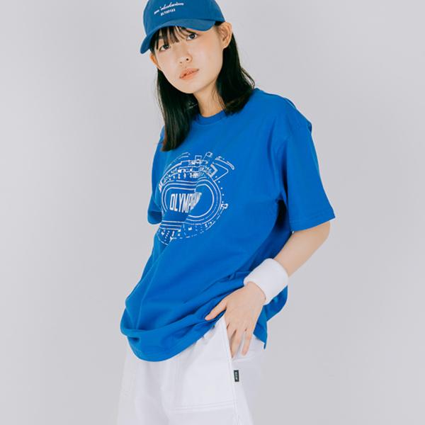 육상 트렉 프린팅 반팔 티셔츠_블루