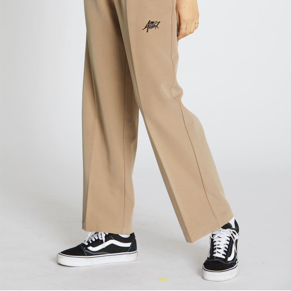 Wide Banding Pants - Beige