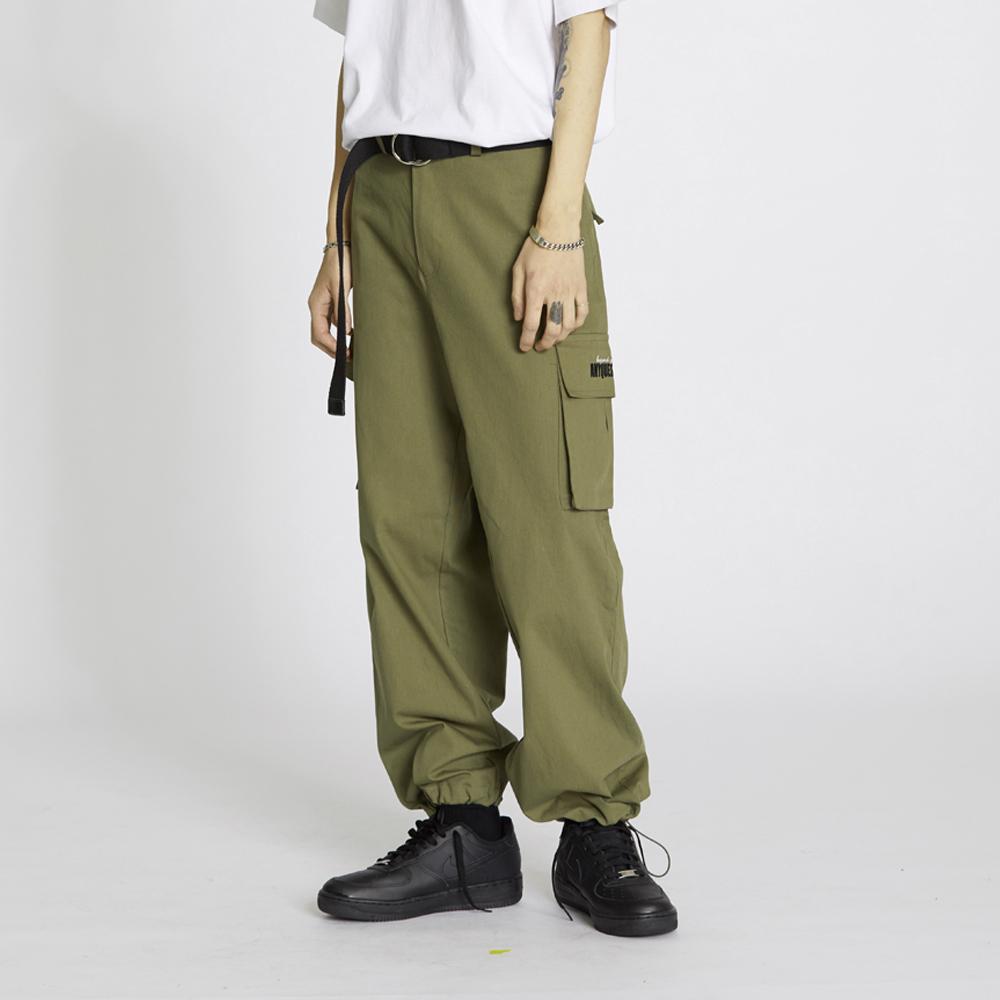 String Wide Cargo Pants - Khaki