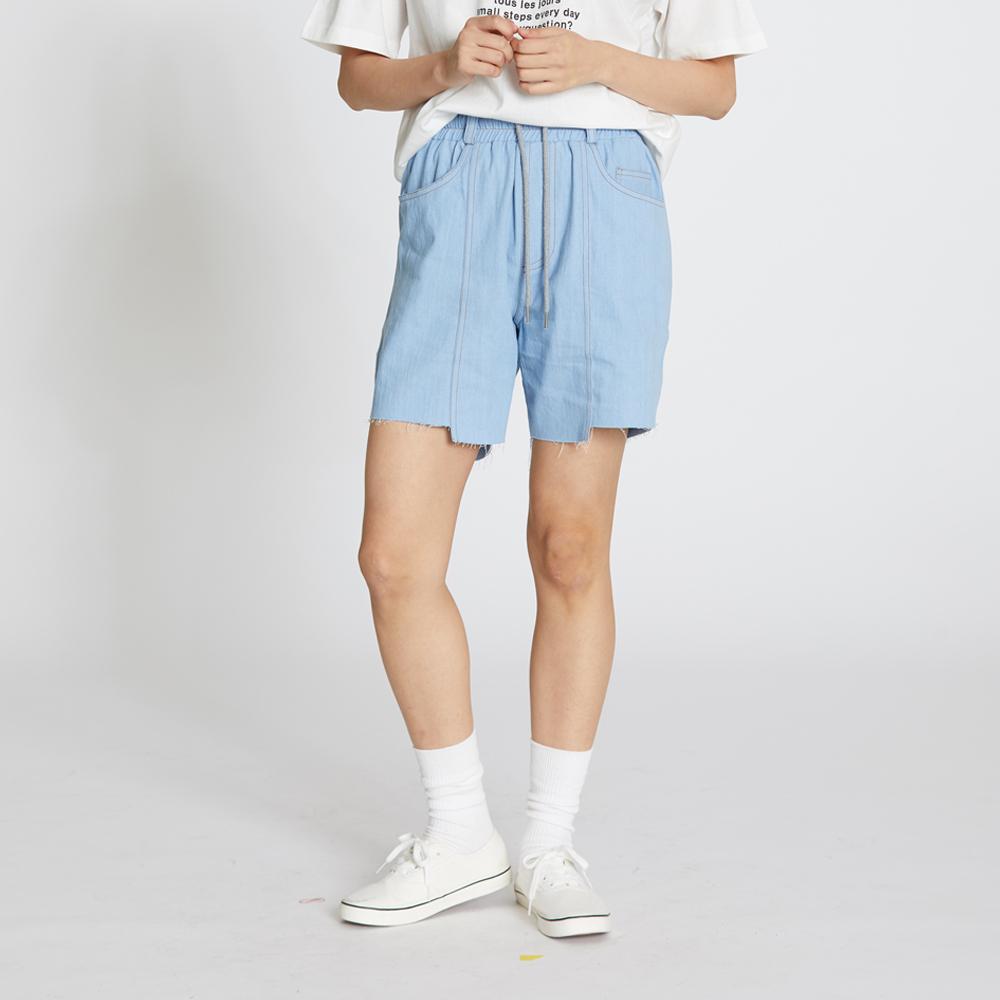 Denim Banding Cut Shorts - Light Blue