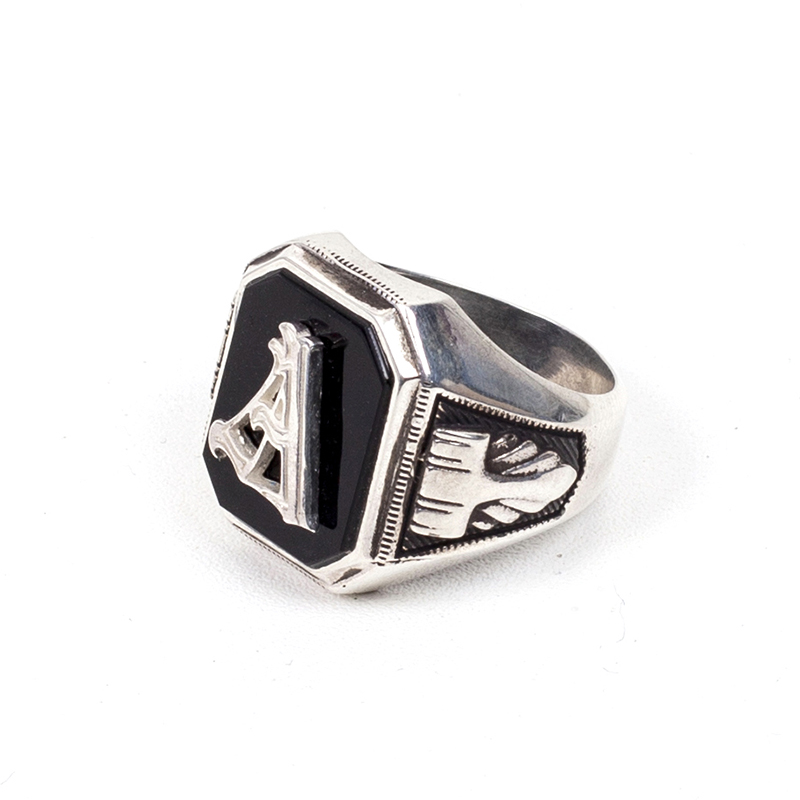 421# MEXICAN INITIAL ONYX RING
