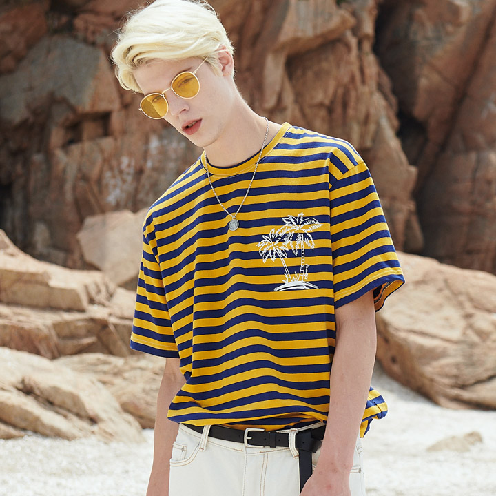 UNISEX PALM TREE STRIPE T-SHIRTS YELLOW