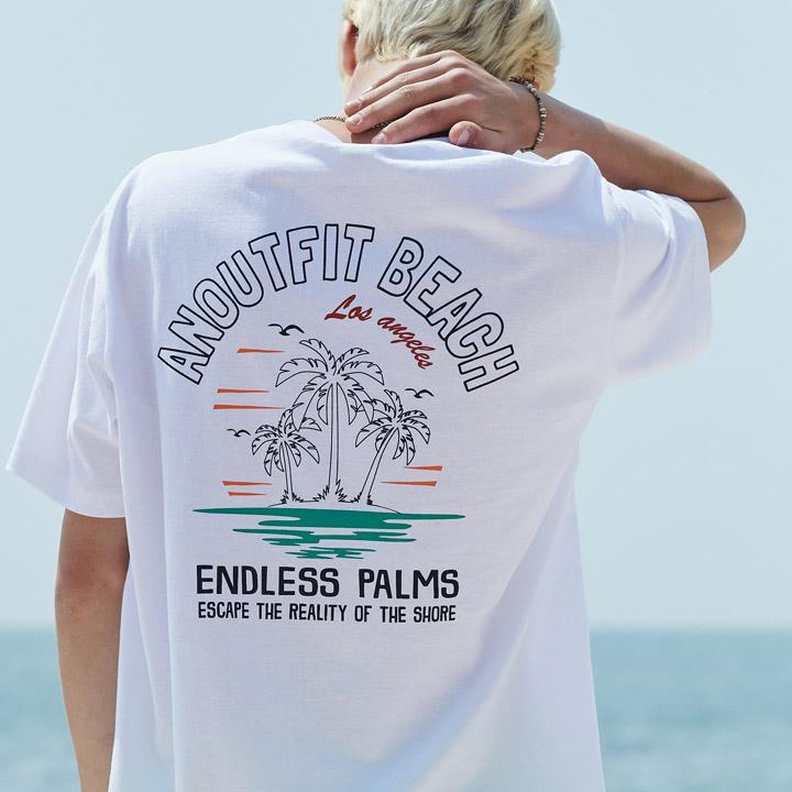UNISEX PALM TREE HALF T-SHIRTS WHITE