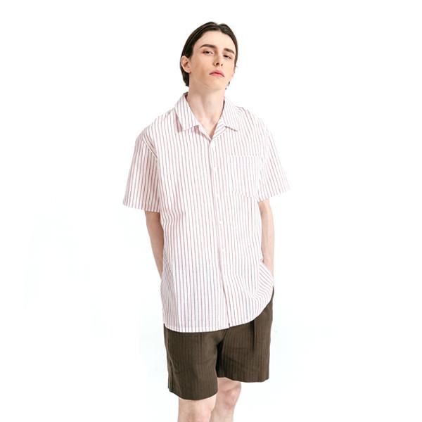 스트라이프 포켓 하프 셔츠 레드