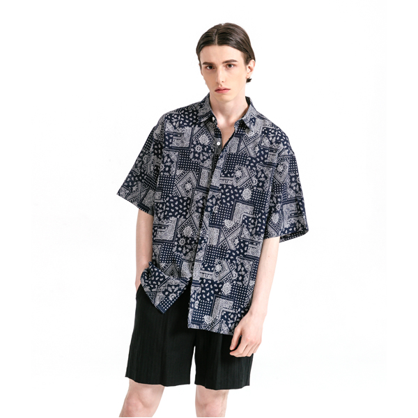 유니섹스 페이즐리 하프 셔츠 네이비 6월 24일 예약배송 순차적 발송