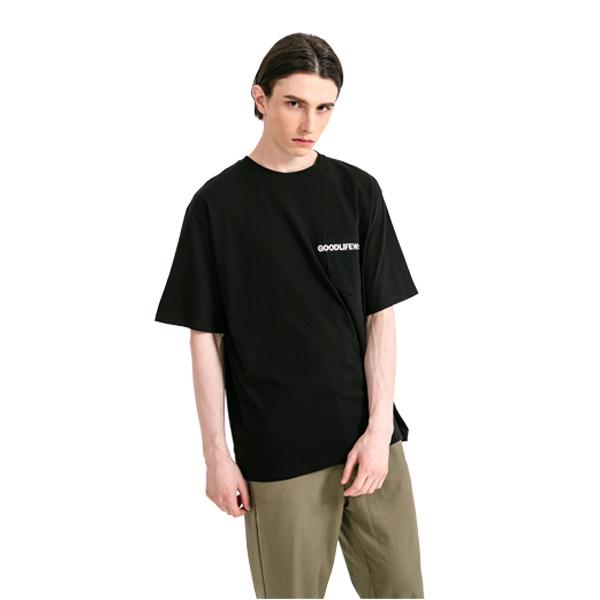 GLW 엠브로더리 포켓 하프 티셔츠 블랙