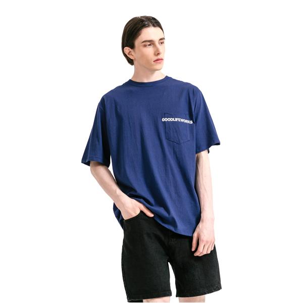 GLW 엠브로더리 포켓 하프 티셔츠 네이비