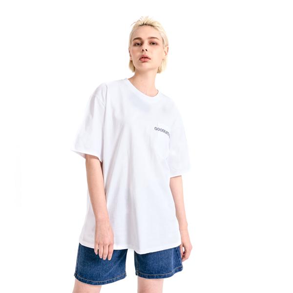 GLW 엠브로더리 포켓 하프 티셔츠 화이트