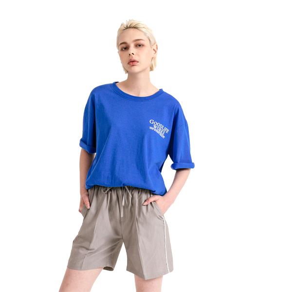 GLW 시그니처 로고 나염 하프 티셔츠 블루