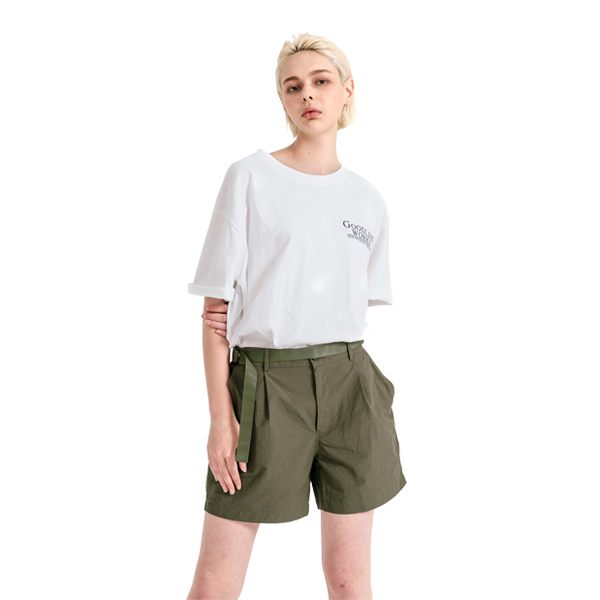 GLW 시그니처 로고 나염 하프 티셔츠 화이트