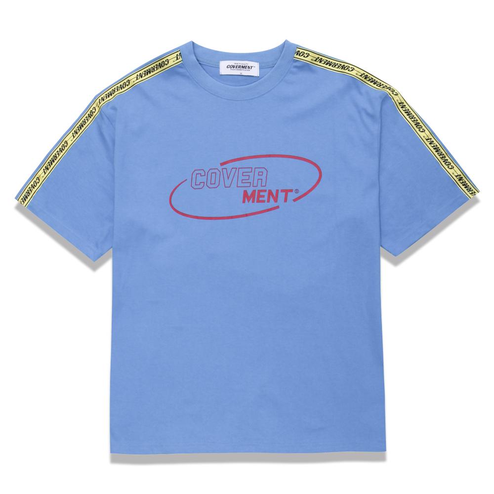 [COVERMENT] 사이드 테이프 배색 오버핏 티셔츠_파스텔 블루
