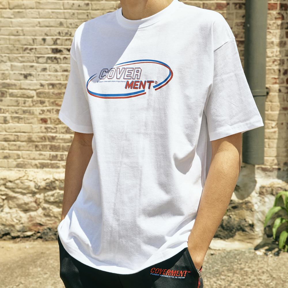 [COVERMENT] 클래식 라운드 로고 오버핏 티셔츠_화이트