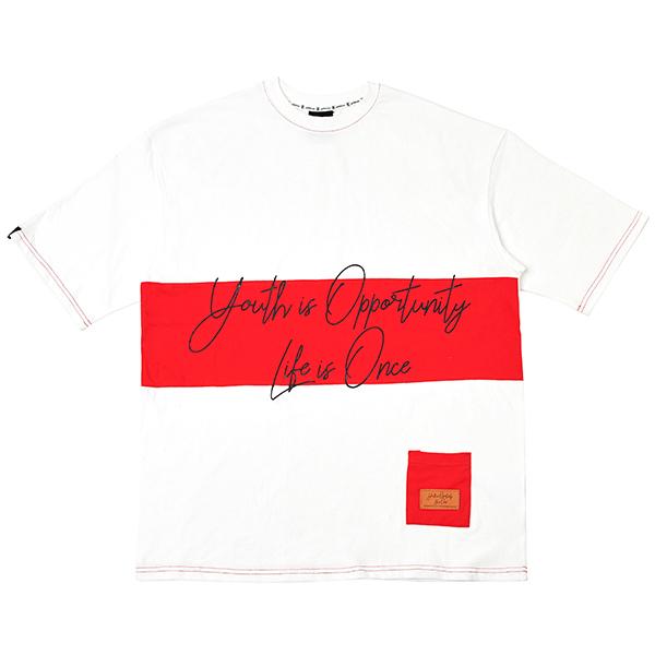 [오버핏] 배색 반팔 티셔츠 White