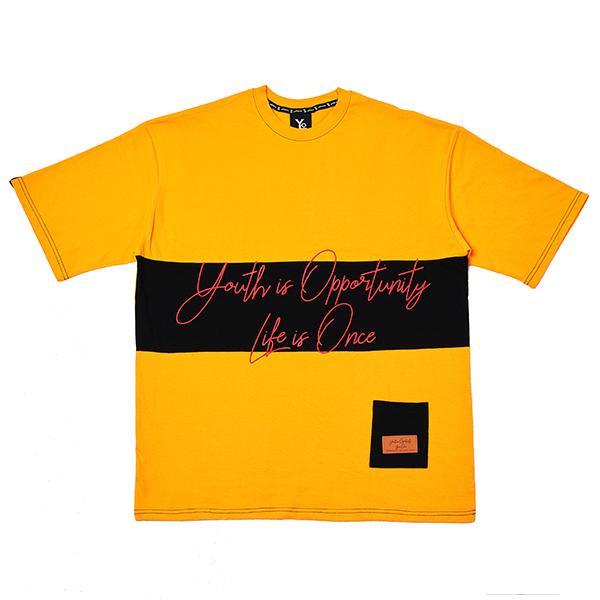 [오버핏] 배색 반팔 티셔츠 Yellow