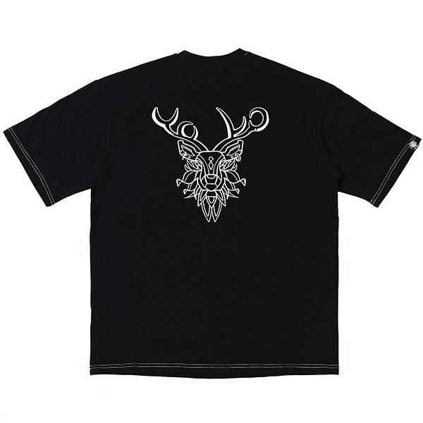 [단독할인][오버핏] 순록 자수 반팔 티셔츠 Black