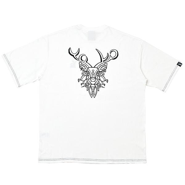 [단독할인][오버핏] 순록 자수 반팔 티셔츠 White