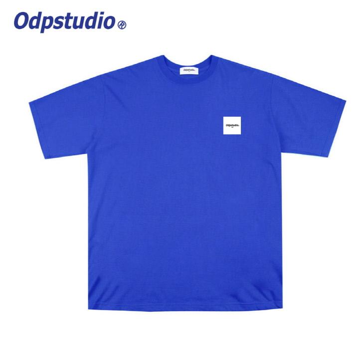 오디피스튜디오 - 스퀘어 로고 반팔티셔츠 블루