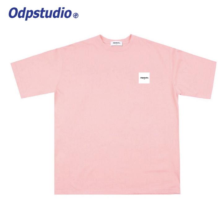 오디피스튜디오 - 스퀘어 로고 반팔티셔츠 핑크