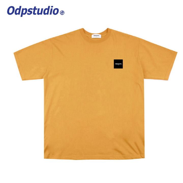 오디피스튜디오 - 스퀘어 로고 반팔티셔츠 옐로우