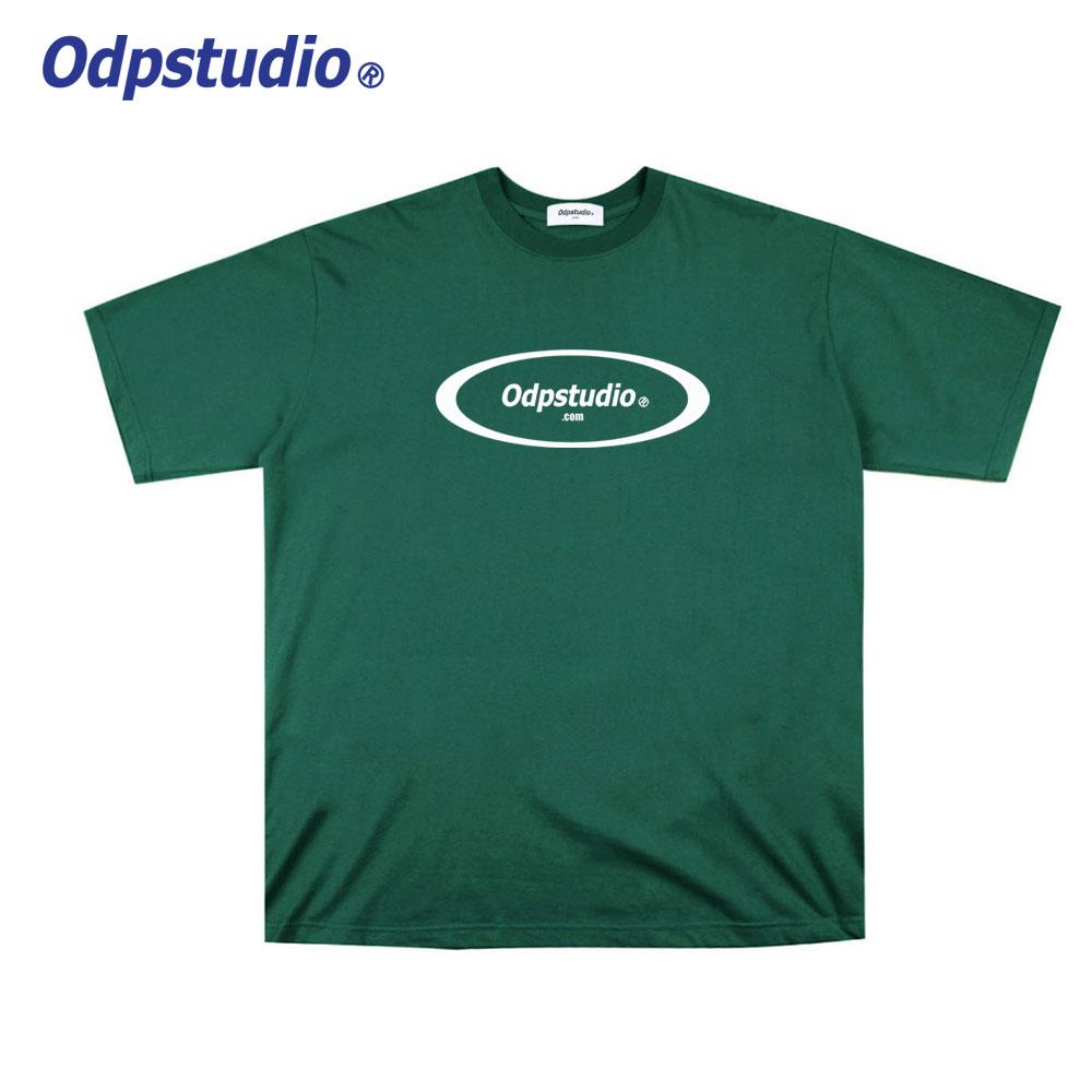 오디피스튜디오 - 서클 로고 반팔티셔츠 그린