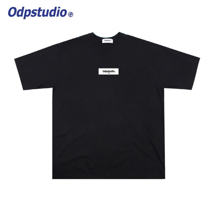 오디피스튜디오 - 사각 로고 반팔티셔츠 블랙