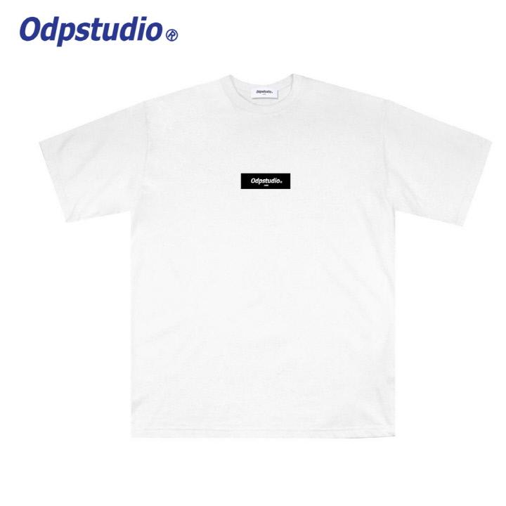 오디피스튜디오 - 사각 로고 반팔티셔츠 화이트