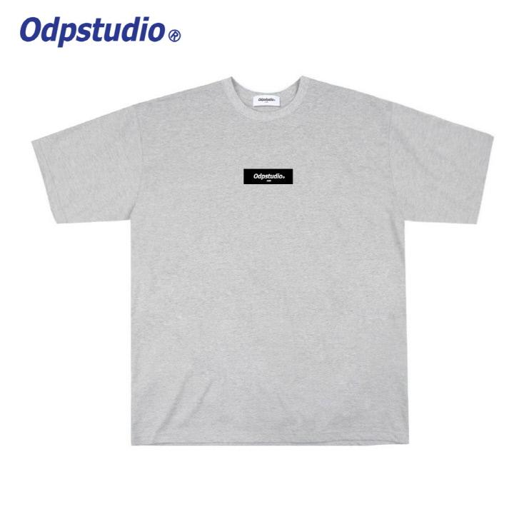 오디피스튜디오 - 사각 로고 반팔티셔츠 그레이