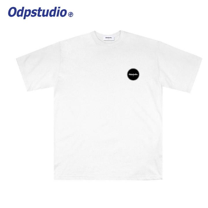 오디피스튜디오 - 오발 로고 반팔티셔츠 화이트
