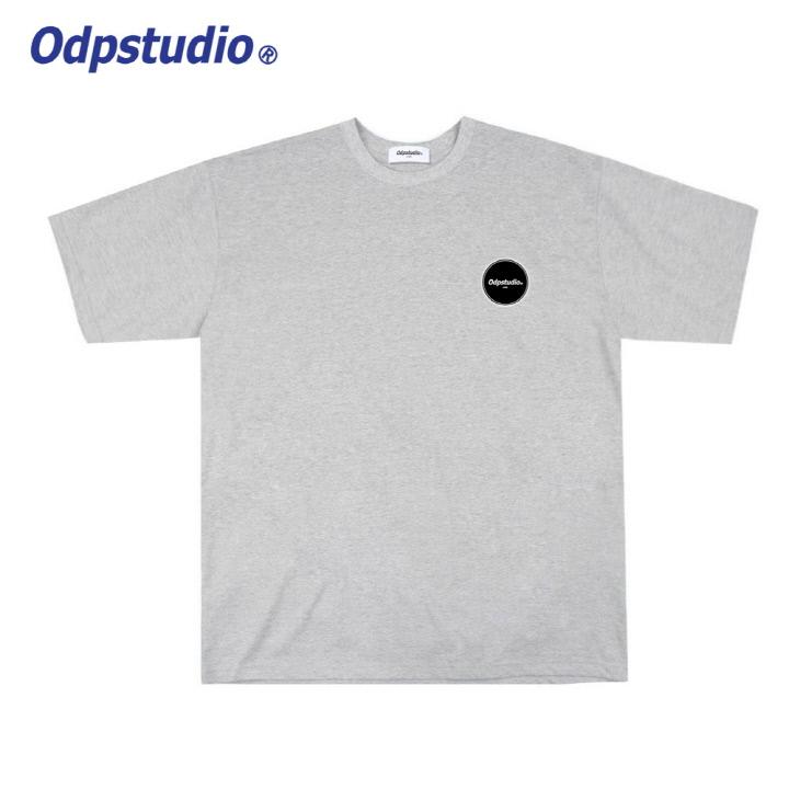 오디피스튜디오 - 오발 로고 반팔티셔츠 그레이