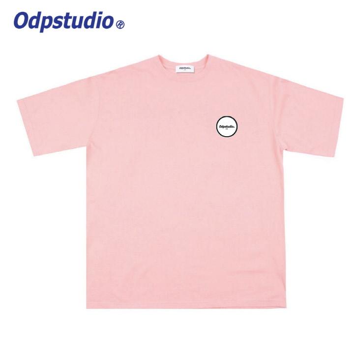 오디피스튜디오 - 오발 로고 반팔티셔츠 핑크