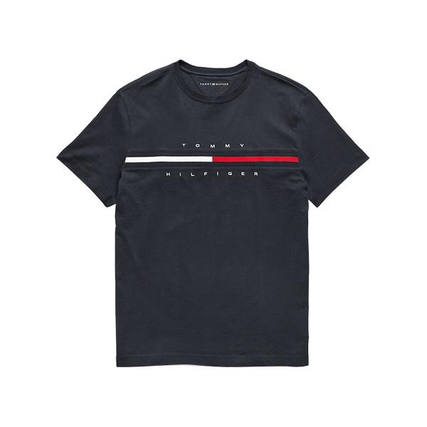 타미힐피거 플래그 로고 반팔티 블랙 C817849807