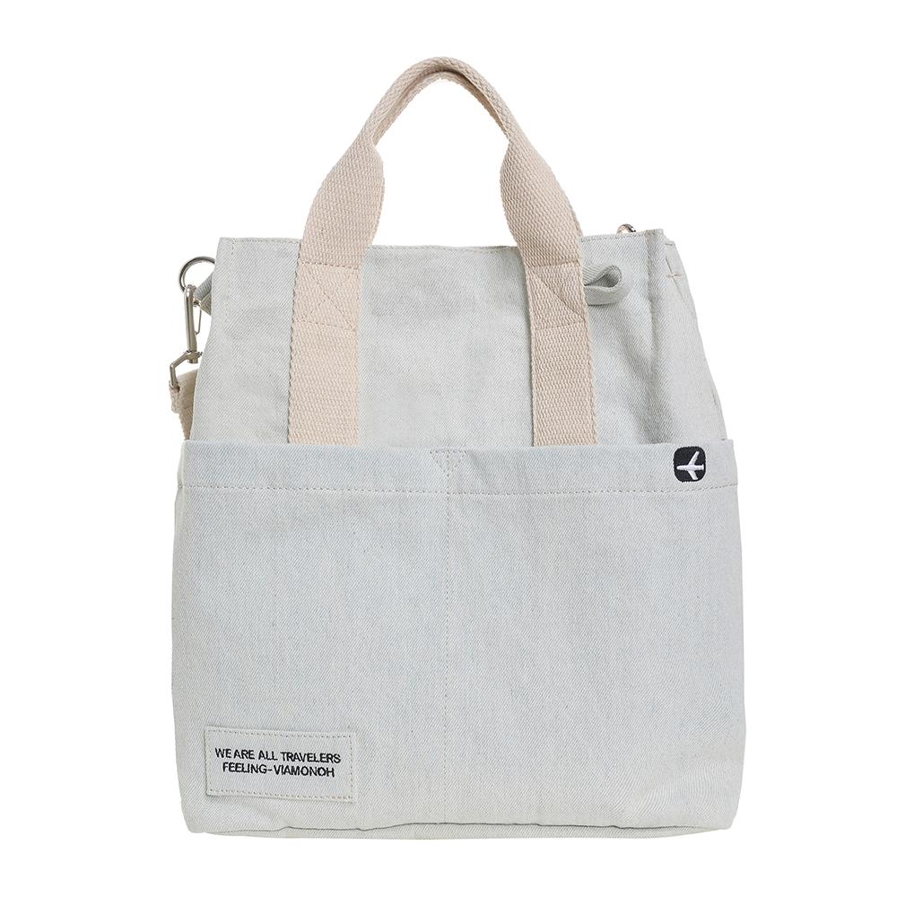 VIAMONOH DAILY CANVAS SHOULDER BAG (DENIM) 에코백 토트백 크로스백 숄더백 가방