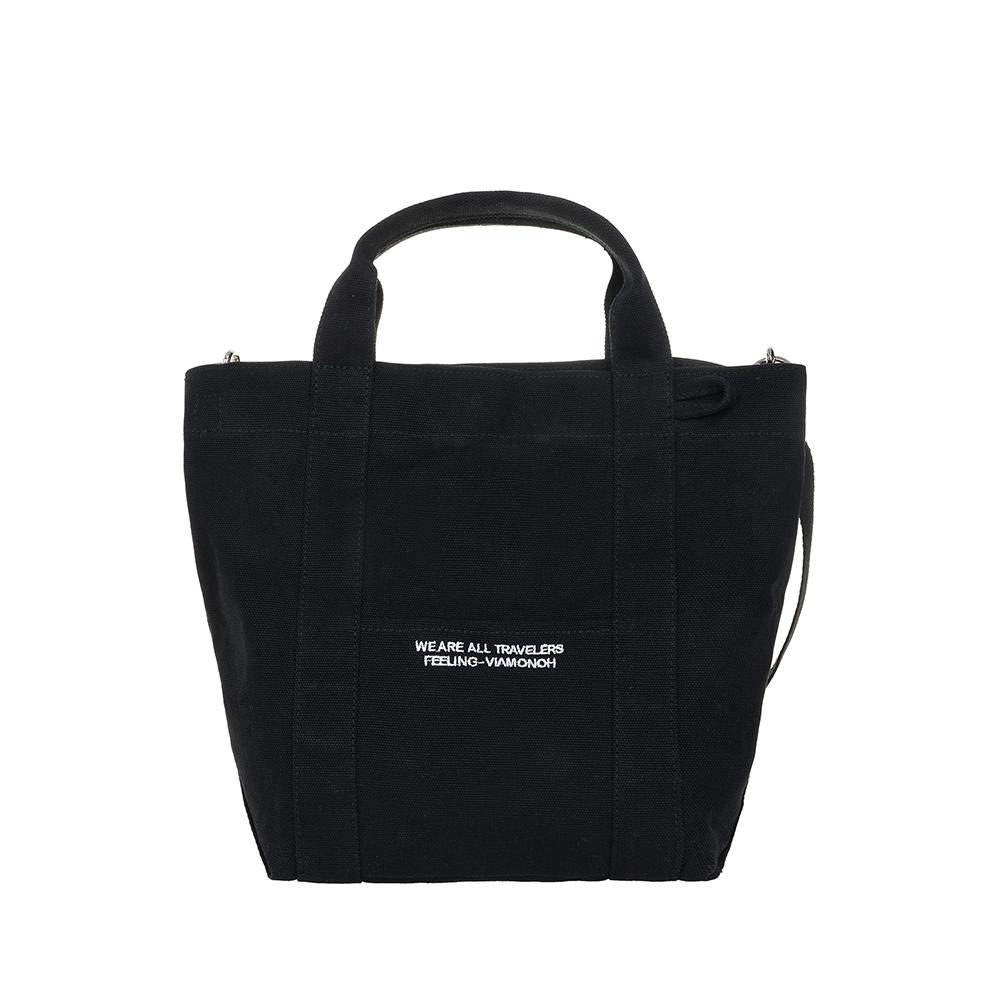 VIAMONOH DAILY TOTE CANVAS BAG (BLACK) 에코백 토트백 크로스백 가방