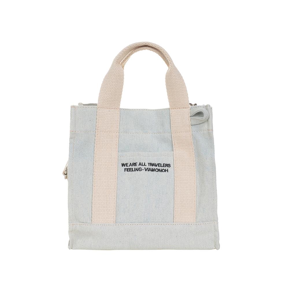 VIAMONOH DAILY MINI CANVAS BAG (DENIM) 에코백 토트백 미니크로스백 가방