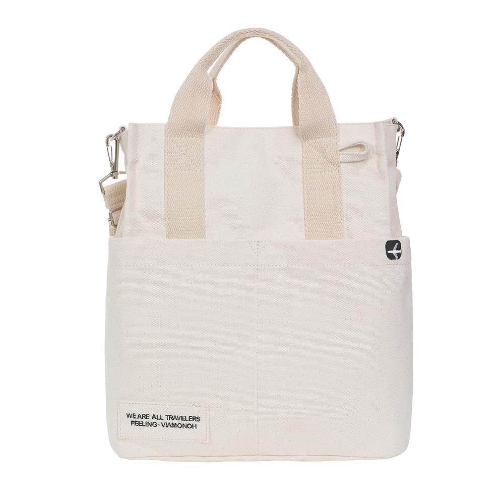VIAMONOH DAILY CANVAS SHOULDER BAG (IVORY) 에코백 토트백 크로스백 숄더백 가방