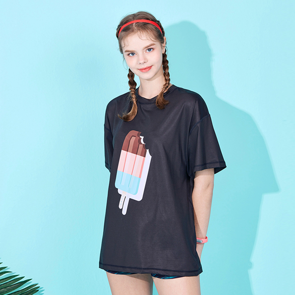 아키클래식 아이스크림 래쉬 반팔 티셔츠 블랙