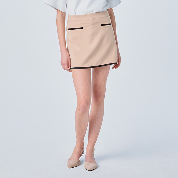 [SUZANNE] A-LINE TAPING SKIRT BEIGE