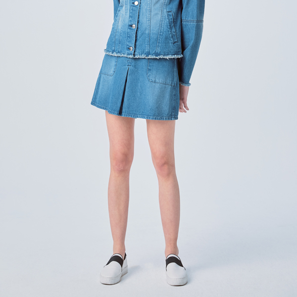 WASHED INVERTED PLEATS DENIM SKIRT INDIGO