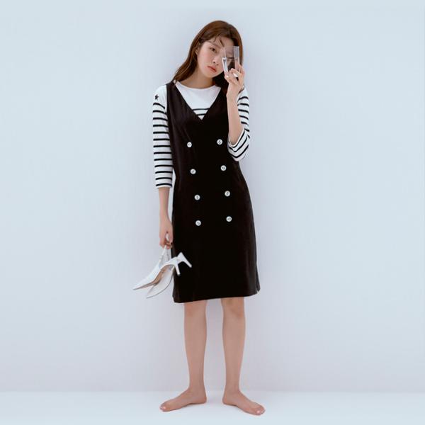 [CHARLOTTE] MARINE BUTTON SLEEVELESS DRESS