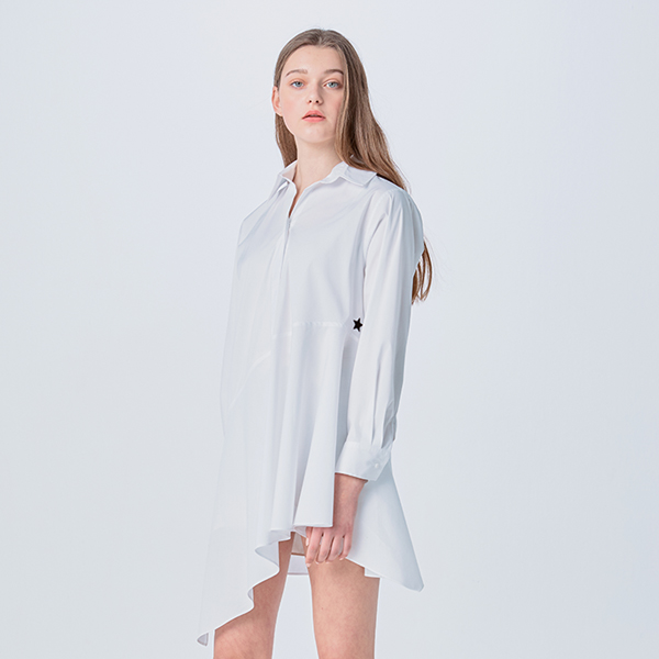 ASYMMETRIC FLARE SHIRT DRESS
